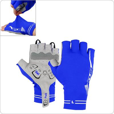 GUB Blue Anti-slip Breathable Lycra Half Finger Gloves with Shockproof Gel Padding for MTB Bicycle Cycling