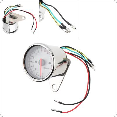 Motorcycle Tachometer 1.6W 12V Pointer-type White Retro LED Indicator Light Electronic Induction Double Mileage for Motorcycle Universal