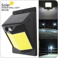 96 COB 400LM Light Controlled Human Body Sensing Wall Light LED Solar Motion Sensor Light Induction Lamp for Outdoor / Courtyard / Illuminating