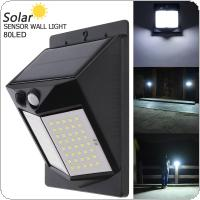 80 LED 500LM Light Controlled Human Body Sensing Wall Light LED Solar Motion Sensor Light Induction Lamp for Outdoor / Courtyard / Illuminating