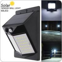 60 LED 450LM Light Controlled Human Body Sensing Wall Light LED Solar Motion Sensor Light Induction Lamp for Outdoor / Courtyard / Illuminating