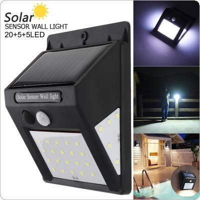 4W 3.7V 20+5+5 LED Human Body Sensing Wall Light Waterproof IP-4 Solar Sensor Corridor Light with Induction for Garden / Outdoor / Courtyard Lighting