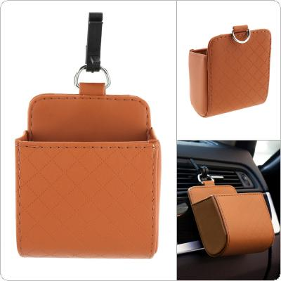 Universal PU Leather Car Air Outlet  Mobile Phone Rack Debris Accessories Bag with Metal Hanging Ring