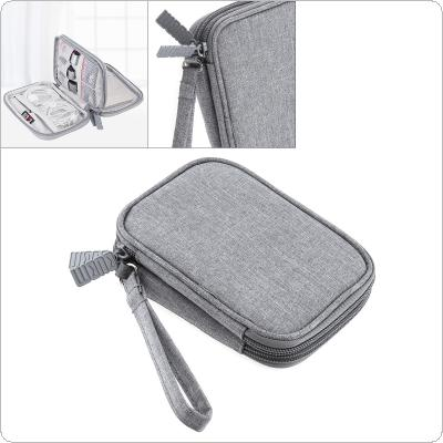 2.5 Inch Shockproof Gray Digital Cable Storage Bag Double layer Earphone Wire Bag Hard Disk Hard Drive Disk Cover Protector for Storage