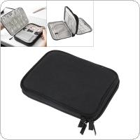 Multifunctional Double layer Small Black Digital Cable Storage Bag Earphone Wire Bag Pen Power Bank Travel Kit Case Pouch for Storage