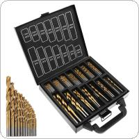 99pcs / set Titanium Plating HSS Twist Drill Bits Coated Set 1.5MM - 10MM Stainless Steel High Speed Steel Drilling Metal with Iron Box for Power Tools