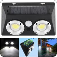 Outdoor Waterproof Conjoined Double COB LED Rechargeable Solar Power PIR Motion Sensor Wall Light with Optical Lens for Garden / Yard / Driveway