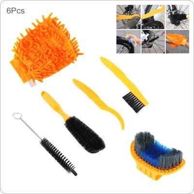 6Pcs/set Bicycle Chain Cleaner Cycling Tire Brush Cleaning Tool Gloves Freewheel Hook for MTB Mountain Road Bike Tyre Accessory