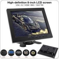 8 Inch Monitor HD TFT LCD Color Monitor Mini TV Computer 2 Channel Video Input Security Monitor with Speaker VGA HDMI for Car