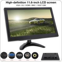 11.6 Inch HD 1920x1080 IPS TFT LCD Color Monitor Mini TV Computer MP5 Player 2 Channel Video Input Security Monitor with Speaker AV BNC VGA HDMI