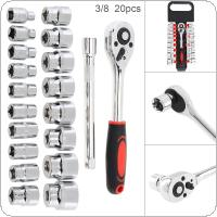 20pcs/set Universal Multifunctional 55# Steel 3/8 Inch Double Row Ratchet Socket Wrench Set with Ratchet Sockets and Extension Rod for Car Repair