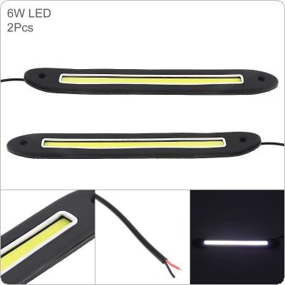 2pcs/pair 12V LED Daytime Running Light Straight Strip Lamp White Light Waterproof Auto Car DRL COB Driving Fog Lamp for Motor / ATV / SUV