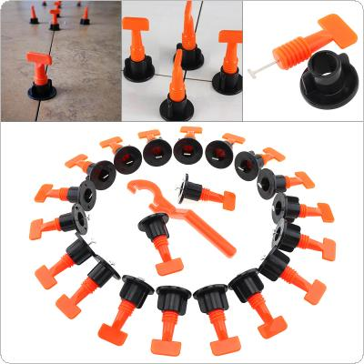 50pcs/set Reusable PP Plastic Tile Leveler Wall Tiles Artifacts Clip Locator with T-shaped Needle and Wrench for Smoothing and Leveling