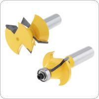 2pcs / set 1-1/2 Inch  Milling Cutter with 1/2 Inch Shank and 120 Degree Tenon for Particle Board / Multi-Layer Board / Solid Wood / Medium Fibre Board
