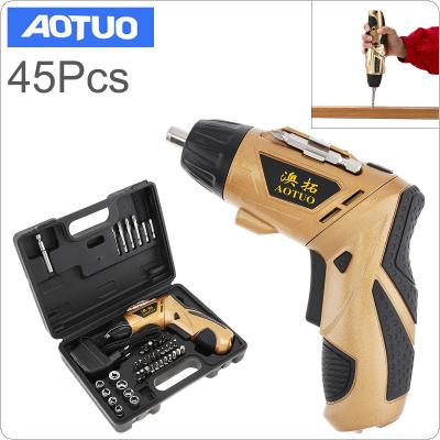 AOTUO 220V Rechargeable Cordless 4.8V Folded Handle Electric Drill Screwdriver Kit with LED Lighting and 45pcs Screw Drill Bits Accessories for Drilling / Screw