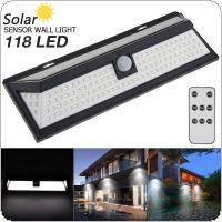 118 LED 3 Modes Remote Control Solar Wall Light PIR Motion Sensor Solar Lamp Waterproof IP65 Infrared Sensor Light 270 Degree for Parks / Security Emerge Street