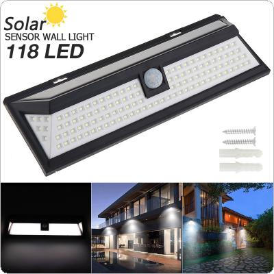 118 LED 3 Modes Solar Wall Light PIR Motion Sensor Solar Lamp Waterproof IP65 Infrared Sensor Light 270 Degree for Parks / Security Emerge Street / Garden