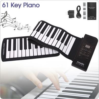 Portable 61 Keys Roll Up Flexible Silicone Piano USB Electronic MIDI Keyboard Organ