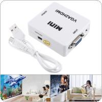 HD VGA to HDMI Converter with 1080P Conversion Head Support Computer Connected TV Projector with Audio