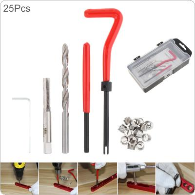 25pcs/set High Speed Steel Metric M6 x 1.0 Thread Repair Insert Kit with Coarse Crowbar and Tap Tapping for Car Professional Coil Drill Repair Tools