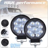 2pcs 90W 6000K 9000LM Circular Waterproof LED Work Light for Off-Road Suv / Boat / 4X4 Jeep / Truck