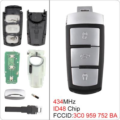 434MHz 3 Buttons Keyless Uncut Flip Smart Remote Key Fob with ID48 Chip 3C0959752BA and Battery for VW Passat B6 3C B7 Magotan CC 2006-2011
