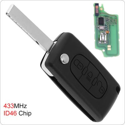 433MHz 3 Buttons Uncut Flip Remote Key Fob with Light Button ID46 Chip for Citroen C3 C4 C5 Models 2005-2011