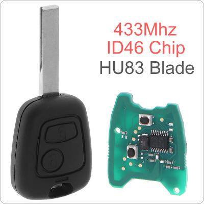 433MHz 2 Buttons Remote Car Key with ID46 Chip and HU83 Blade for Citroen 73373067C / Peugeot  307 2000-2017