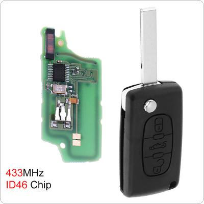 433MHz 3 Buttons Uncut Flip Remote Key Fob with ID46 Chip for Citroen C3 C4 C5 Models 2005-2011