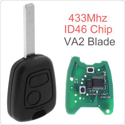 433MHz 2 Buttons Remote Key Fob with ID46 Chip and Battery for Citroen C1 C2 C3 C4 Xsara Picasso 2000-2009