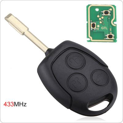 433 MHZ 3 Buttons Remote Entry Key Fob with Chip for Ford Mondeo / Fiesta   / Focus / KA / Transit / K2  2002-2012