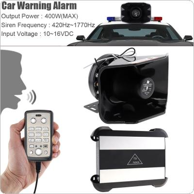 12V 400W 18 Tone Loud Car Warning Alarm Police Siren Horn Speaker with MIC System