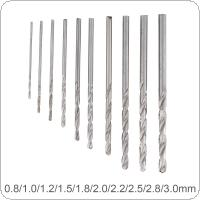 10 pcs / set  High Speed Metric HSS Twist Drill Bits Coated Set 0.8MM - 3.0MM Stainless Steel Small Cutting Resistance for Hole Punch