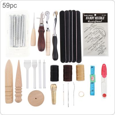 59pcs/set DIY Leather Craft Handmade Sewing Stitching Punch Carving Work Kit Set Saddle Groover Leather Craft Kit Practical for DIY
