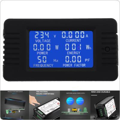 AC 6in1 220V 100A Single Phase Digital Panel Amp Volt Current Meter Watt Kwh Power Factor Meter with Coil CT