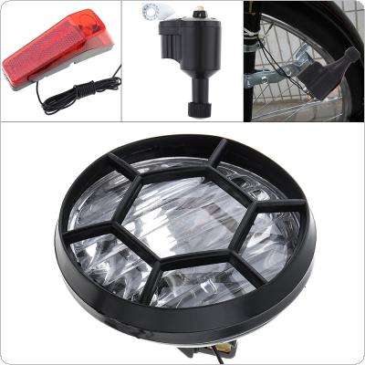 6V 3W Black Bike Bicycle Dynamo Lights LED Self-powered Front Light Headlight and Rear Light LED Lamp Set Safety for Bicycle