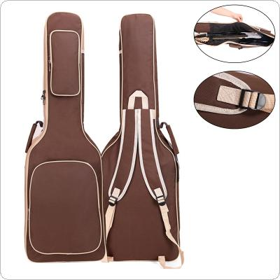 101 x 33 x 6cm Oxford Fabric Electric Guitar Case Coffee Gig Bag Double Straps Pad 8mm Cotton Thickening Soft Cover Waterproof Backpack