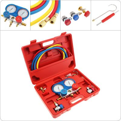 R-134A Air Conditioning Fluorine Table Common Cool Gas Meter AC Diagnostic A/C Manifold Tool Set with 2 Quick Couplers and  Removel Tool