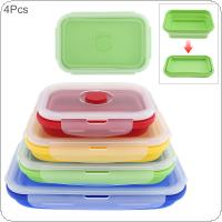 4pcs/set 350 / 500 / 800 / 1200 ML Collapsible Lunchbox Portable Rectangle Silicone Folding Bento Box with Sealing Plug for - 40 Centigrade ~ 240 Centigrade
