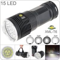 Power Display 15 XML-T6 LED 8000 Lumens Waterproof IP65 Aluminium Alloy Flashlight with 4 Modes Light and DC USB Cable + Portable Sachet