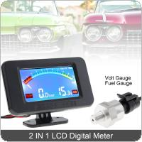 12V / 24V Universal  2 In 1 LCD Digital Volt Gauge + Oil Fuel Gauge with Sensor for Car / Truck