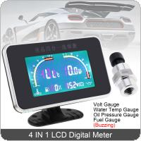 12V / 24V Universal  Buzzing 4 In 1 LCD Digital Volt Gauge + Water Temp Gauge + Oil Pressure Gauge + Fuel Gauge with Sensor for Car / Truck
