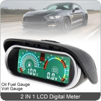 12V / 24V 2 In 1 Universal  LCD Digital  Voltmeter Voltage + Gauge Oil Fuel Gauge Meter  for Car / Truck