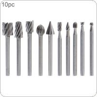 10pcs/set DIY Tree Root Carving 3mm Shank High Speed Steel Carpentry Handmade Electric Grinding Head Engraving Milling Cutter Rotary Burr Bit Set