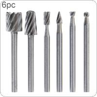 6pcs/set High Speed Steel Carpentry Trumpet Rotary Burrs Metalworking Rotary Files Set with 3mm Shank Diameter for Electric Grinding Head Grinding Tool