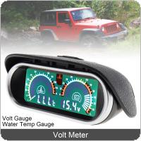 12V / 24V Universal  2 In 1 LCD Digital Meter Volt Gauge + Water Temp Gauge with M10 Sensor for Car / Truck