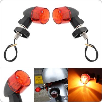 2pcs/pair 12V Aluminum Alloy Red Lens Retro Style Modified Parts Lateral Direction Turning Lights Cornering Lamp Turn Signal Light for Motorcycle