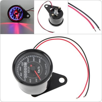 0 - 180 km / h 12V Small Stainless Steel Retro Car Odometer with LED for Motorcycle