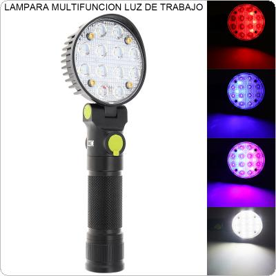12 COB LEDs Work Flashlights White Red Blue Light Car Repair Working Lamp USB 18650 Torch Built-in Magnet Hook Tent Camping Lantern Support 90 Degree Rotation