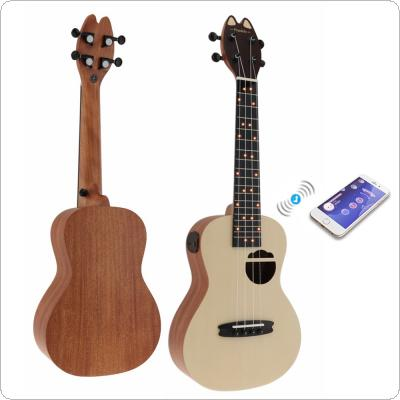 Populele Q1 23 Inch Concert Smart Ukulele Cat Ear Style Spruce Wood Acoustic 4 Strings Guitar with APP Teaching